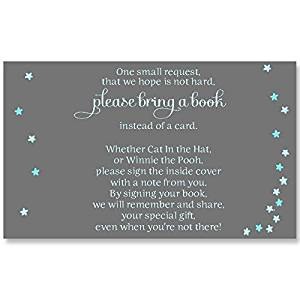 The Invite Lady twinkle star blue gray and aqua baby shower bring a book